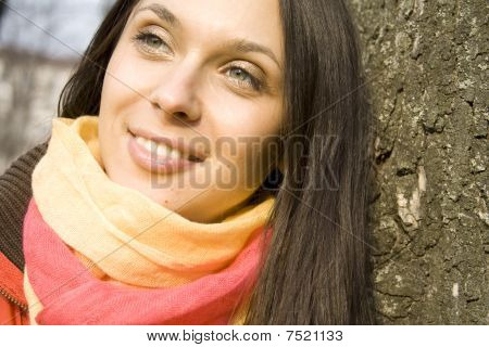 Young beautiful female in the park