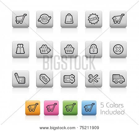 e-Shopping Icons // Outline Buttons +++ Each color in a layer - To see the desired color, you need to make it visible in the layer panel +++ EPS 10+ / Contain Transparencies.
