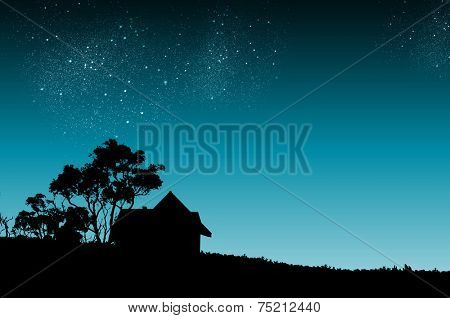 Silhouette of countryside house and trees at night
