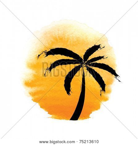 Silhouette of palm trees against the sun. Vector logo illustration.