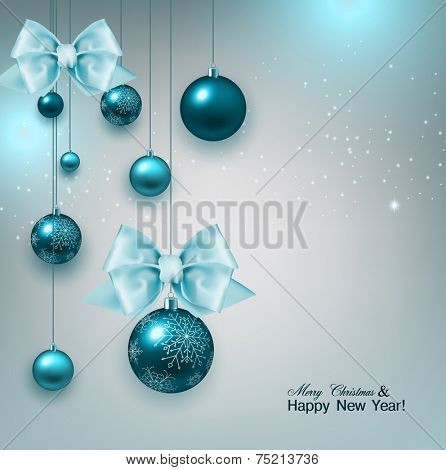 Christmas background with gifts and blue balls. Xmas baubles.Vector illustration.
