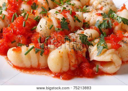Delicious Gnocchi With Tomato Sauce On A White Plate. Macro.