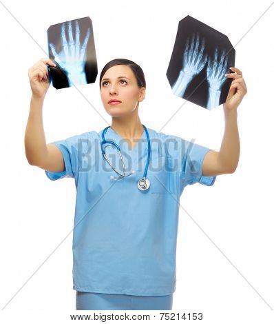 Young doctor with x-ray isolated