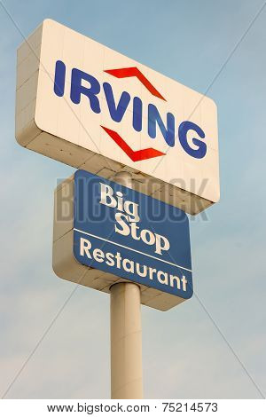Irving Oil And Big Stop Sign.