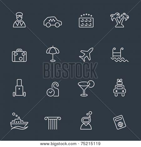 Travel and hotels icon set, thin line design, dark background