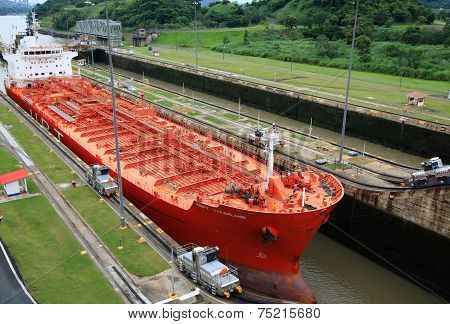 Tanker in Panama Canal