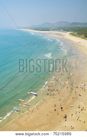 View of the beach from the tower-gopuram in Murudeshwar, Karnataka, India.