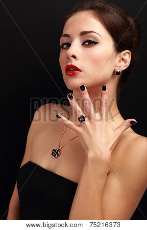 Beautiful Fashion Woman With Jewelry Accessories And Modern Black Fingernail