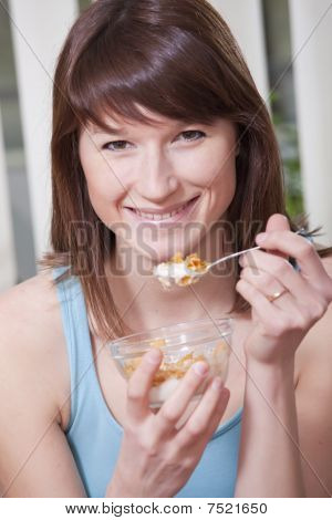 Happy Woman With Flakes