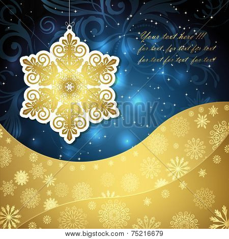 Golden snowflakes and frosty patterns on a dark blue background. Christmas background, vector illustration.