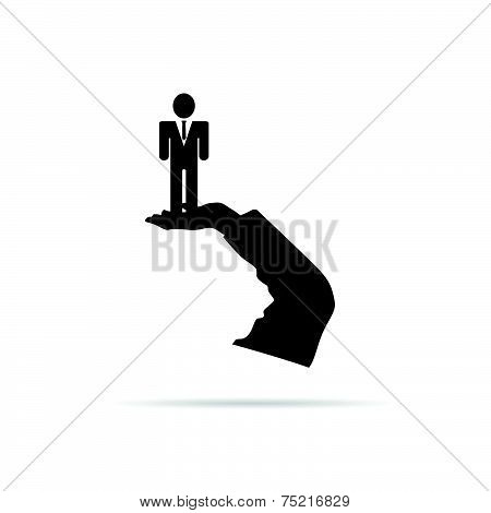 Businessman In Hand Vector Silhouette