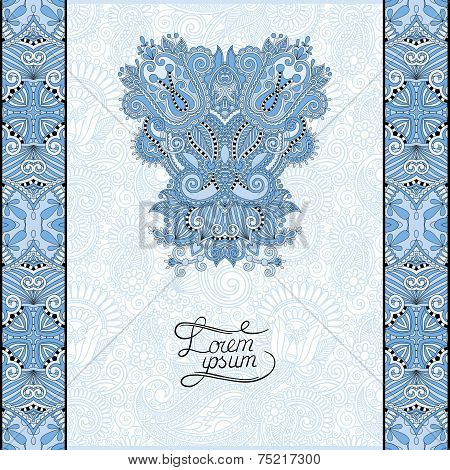 blue colour invitation card with neat ethnic background