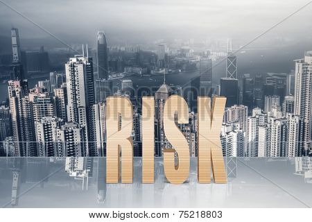 Concept of risk, danger, crash etc with 3d text under sky in the modern city.