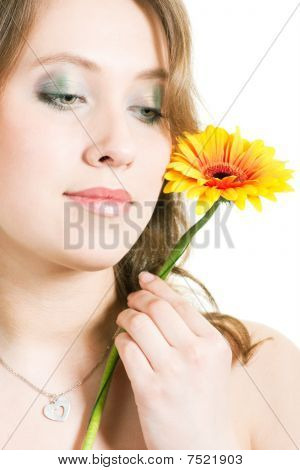 Beautiful Girl With Flower