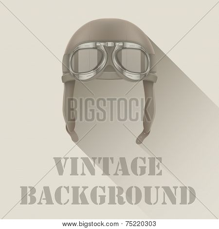 Background of Retro aviator pilot or biker helmet with goggles.