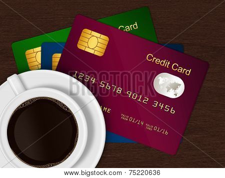 White Cup Of Coffee With Credit Cards