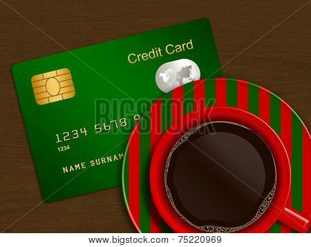 Christmas Cup Of Coffee With Credit Card