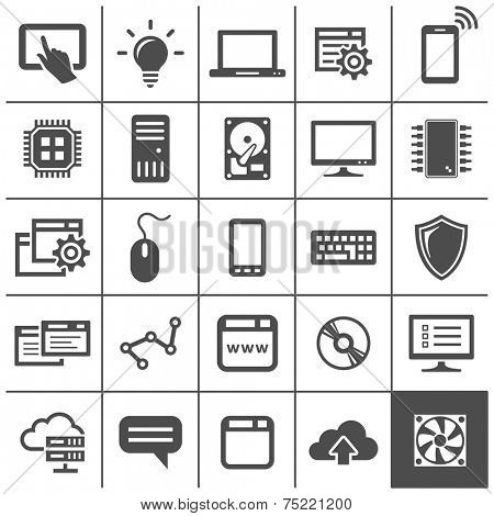 Computer technology icons. Network devices and connections. Simplus series. Vector illustration