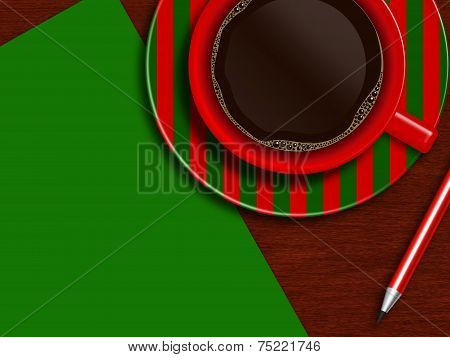 Christmas Cup Of Coffee With Green  Letter And Pencil