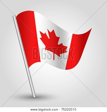 Vector 3D Waving Canadian Flag On Pole