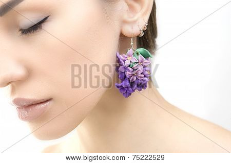 Romantic Style: Fashion Studio Shot Of Beautiful Woman With A Floral Earrings (jewelery Made Of Poly