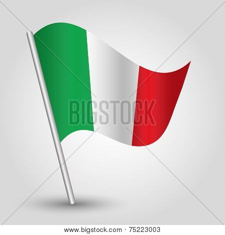 Vector 3D Waving Italic Flag On Pole