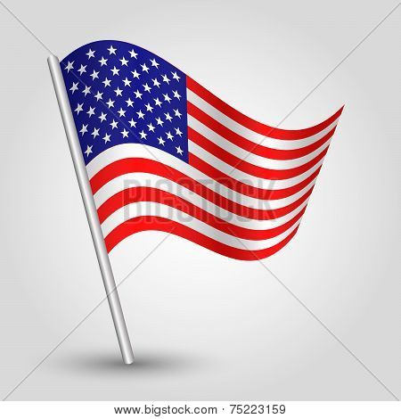 Vector 3D Waving American Flag On Pole