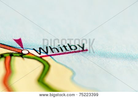 Close-up On Whitby City On Map, Travel Destination Concept