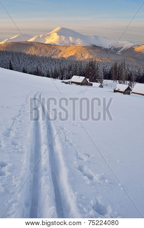 Ski in the mountains. Fabulous winter landscape