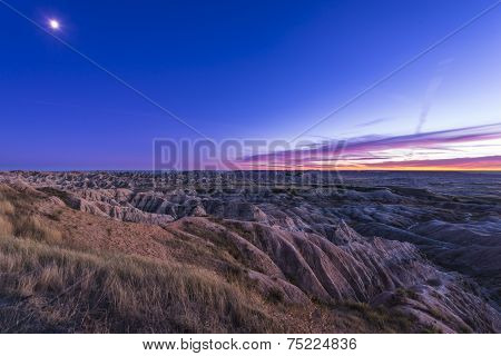 Moon Rise Over Badlands National Park