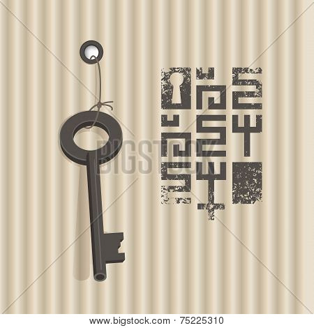 Key on corrugated cardboard