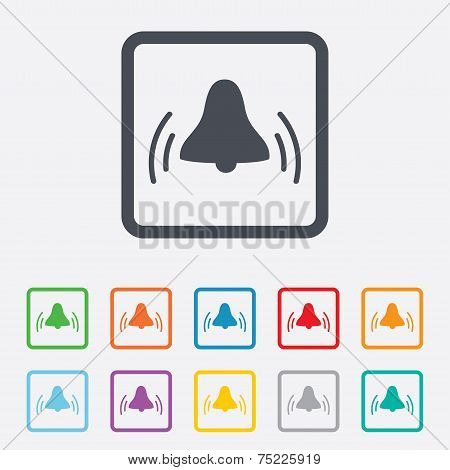 Alarm bell sign icon. Wake up alarm symbol.