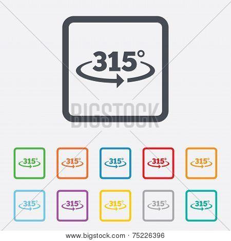 Angle 315 degrees sign icon. Geometry math symbol
