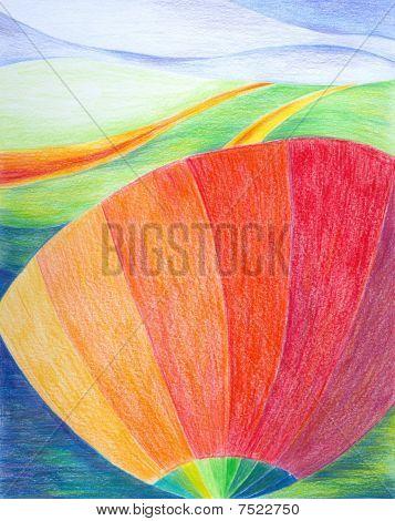 abstrakte Landschaft mit Poppy flower