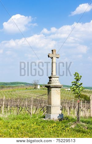 cross with vineyard near Nemcicky, Czech Republic