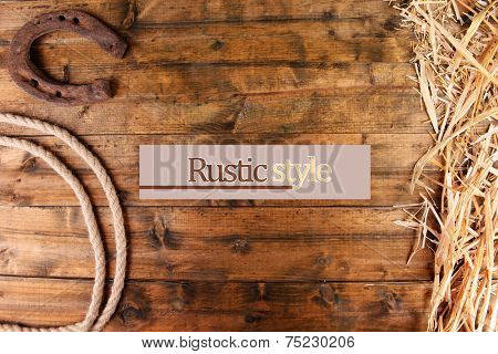 American West still life with old horseshoe and cowboy lasso