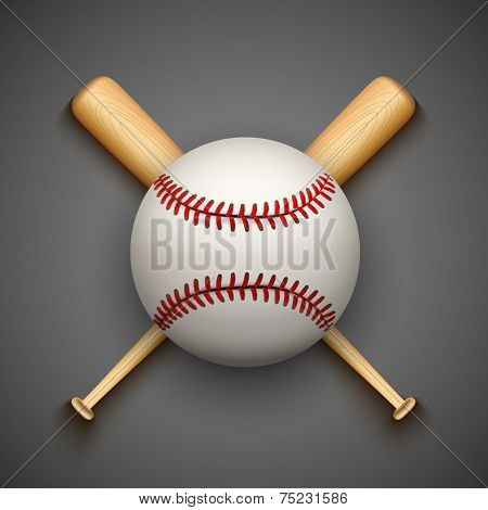 Vector dark background of baseball leather ball and wooden bats.