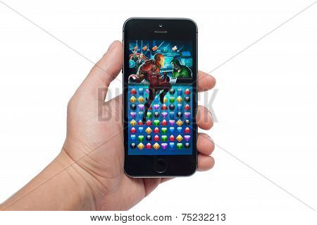 Pavlograd, Ukraine - October 31, 2014: Marvel Puzzle Quest Of The Best Puzzle Games Such As
