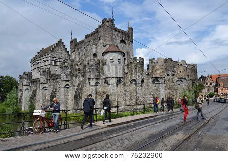 The Gravensteen Castle In Ghent, Belgium