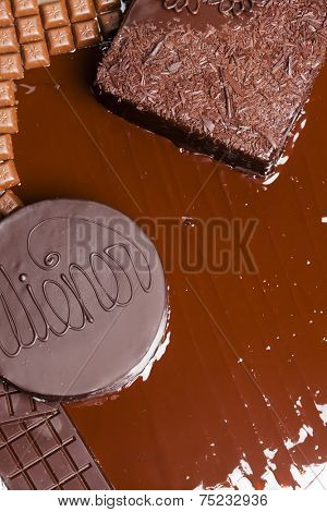 still life of chocolate with Wiener cake and chocolate cake