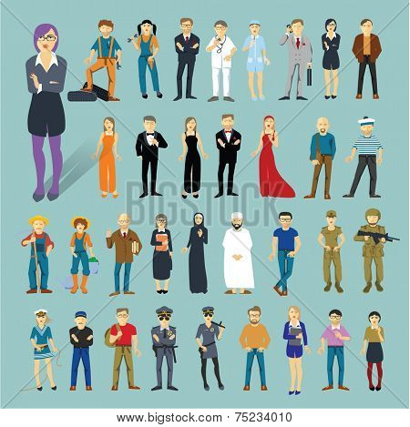 Characters and professions. 34 flat design vector objects.