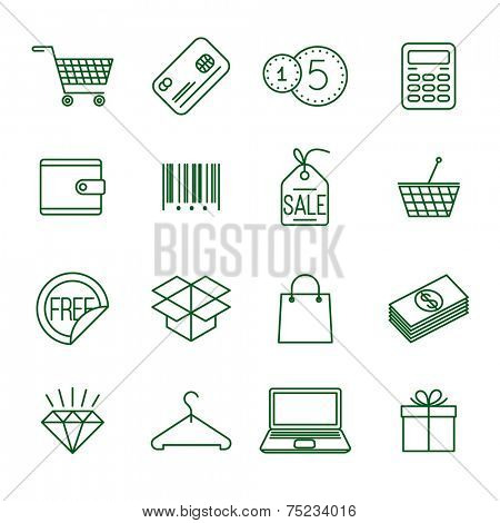 Shopping   thin line vector icon set