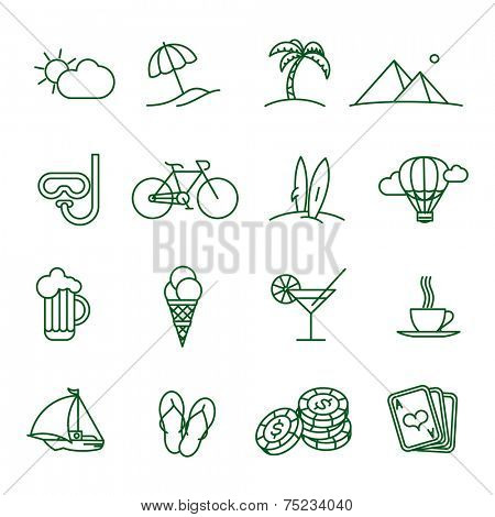 Travel and tourism  thin line vector icon set