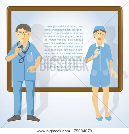 Doctor and nurse in flat modern style. Vector illustration.