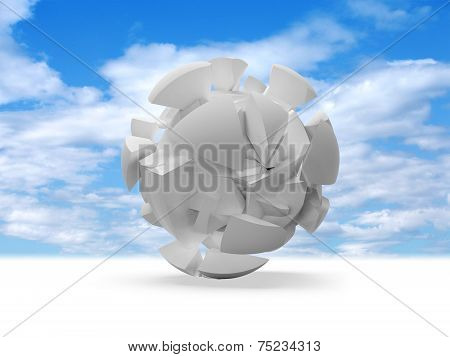 Abstract 3D Spherical Object On Blue Sky Background