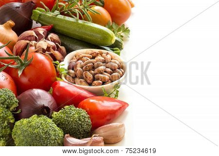 Raw Pinto  Beans And Vegetables
