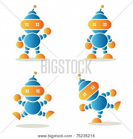 Set Of Dancing Robots, Vector Illustration