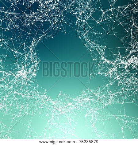 Deep Green Abstract Background. Connecting Dots