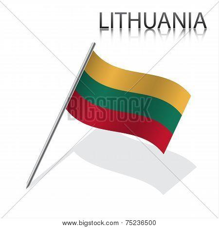 Realistic Lithuanian flag