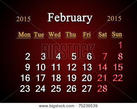 Calendar On February Of 2015 Year On Claret